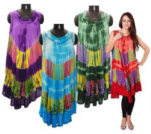 Hippy Dress~Bohemian Tie Dye Hippy Sun Dress Loose Fit Mid Length Summer Dress~Fair Trade By Folio Gothic Hippy 041